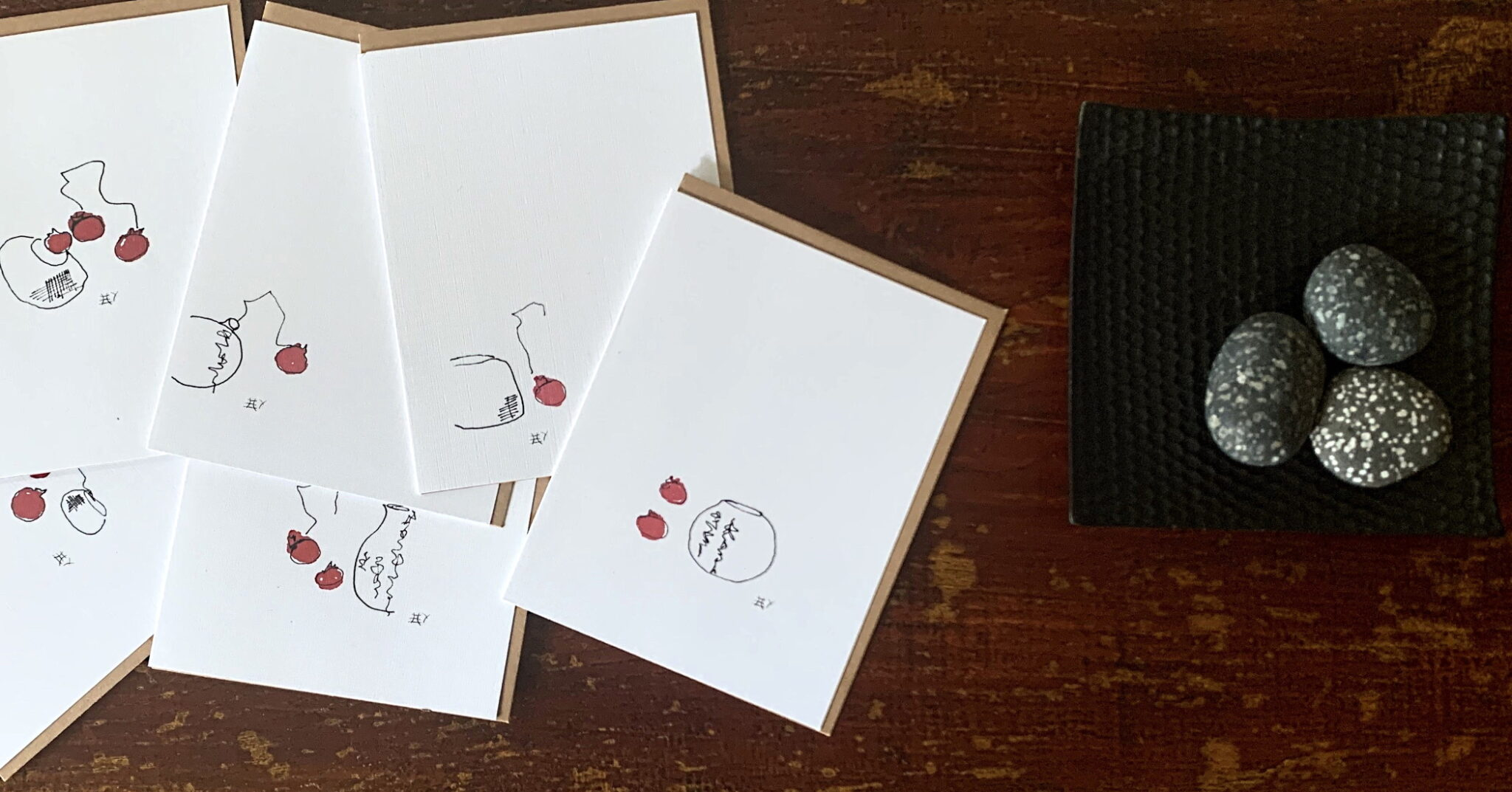 Colored Handmade Greeting Cards with Fruits and Vases